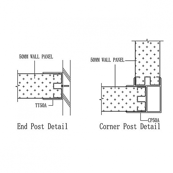 B50 STUD-LESS WALL PANEL SYSTEM Corner & End Post Joint