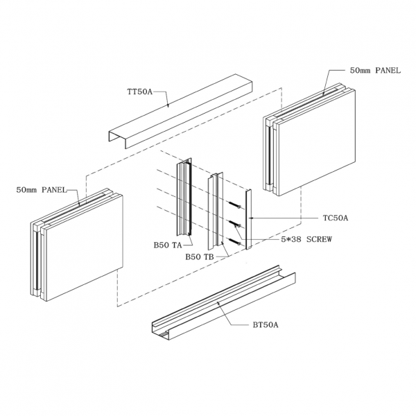B50 STUD-LESS WALL PANEL SYSTEM Drawing