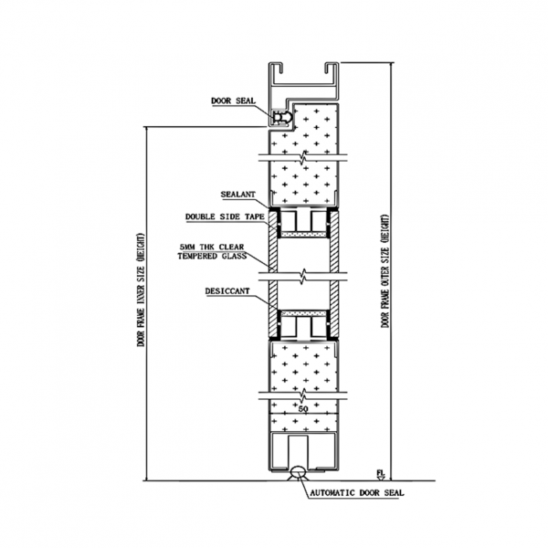 Pharmaceutical DL2 Door System Type DL2 Section Drawing
