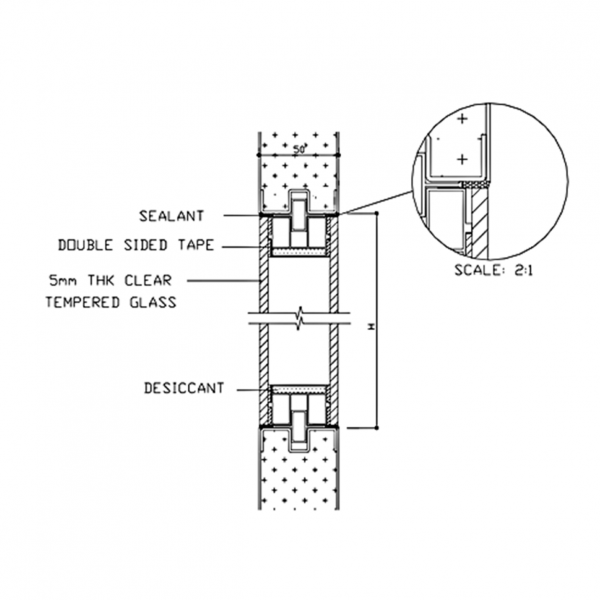 Pharmaceutical DL3 Door System Double Glaze Detail Drawing